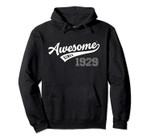 Awesome Since 1929 Old School Baseball 90th Birthday Gift Pullover Hoodie
