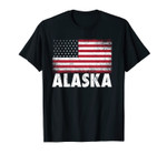 American Flag 4th of July Alaska Vintage Men Women Patriotic Unisex T-Shirt