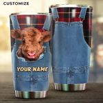 Felacia [Tumbler] Highland Cow Denim Scotland Tartan Personalized Name For FarmerC2962