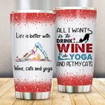Felacia [Tumbler]  Life Is Better With Wine Cats And YogaC3415