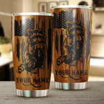 Felacia [Tumbler] Racoon Hunting American Flag Custom name  Cup - Personalized Hunting gifts for Coon hunters - IPHW229C3794