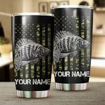 Felacia [Tumbler] Crappie Fishing US Flag Camo Patriot Customize name Cup Personalized Fishing gift for fisherman - IPH1274C3793