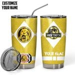 Felacia [Tumbler] MIGHTY MORPHIN Power Ranger Saber Tooth Yellow Custom Name Glitter Design Insulated Vacuum C4822