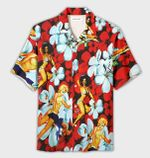Felacia [Hawaii Shirt] Sexy Girls Retro Tropical Red Hawaiian Aloha Shirts-ZX2491