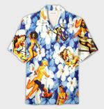 Felacia [Hawaii Shirt] Sexy Girls Retro Tropical Blue Hawaiian Aloha Shirts-ZX2492
