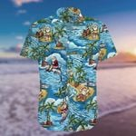 Felacia [Hawaii Shirt] Funny Santa Claus Surfing Dolphin Summer -ZX2921