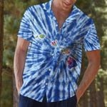 Felacia [Hawaii Shirt] Hawaii Map Blue Tie Dye Hawaii Shirts-ZX3325