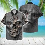 Felacia [Hawaii Shirt] Scary Skull Grey Hawaiian Aloha Shirts-ZX0571