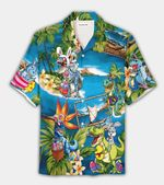 Felacia [Hawaii Shirt] Happy Easter 2021 Amazing Bunny Riding Dinosaur Unisex Hawaiian Aloha Shirts-ZX3217