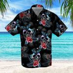 Felacia [Hawaii Shirt] Skull Rose And Butterfly Black Aloha -ZX1612