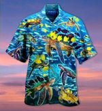 Felacia [Hawaii Shirt] Go With The Flow Turtles And Fish-ZX1754