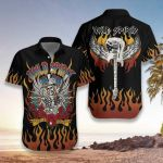 Felacia [Hawaii Shirt] Skull Play Guitar Wild Spirit-ZX2639
