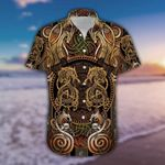 Felacia [Hawaii Shirt] Dragon Iron Pattern Brown Unisex #190421h-ZX2470
