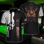Felacia [Hawaii Shirt] American Skull Billiard Black Unisex -ZX1212