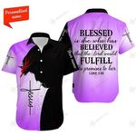 Felacia [Hawaii Shirt] Christian Jesus Blessed is she who has believed that the Lord Purple -ZX3272