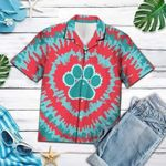 Felacia [Hawaii Shirt] Tie-dye Dog Footprint Hippie Hawaiian Aloha Shirts-ZX2608