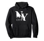 New York City NYC Silhouette Initials Typography Art Pullover Hoodie, T Shirt, Sweatshirt