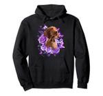Tee89s Vizsla purple flowers Pullover Hoodie, T Shirt, Sweatshirt