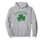 Sunnyside Irish Shamrock Distressed Dark Green Print Pullover Hoodie, T Shirt, Sweatshirt