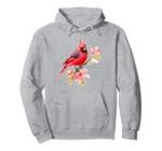 Cardinal Spirit Animal, Red Bird Stand on Pink Flower Pullover Hoodie, T Shirt, Sweatshirt