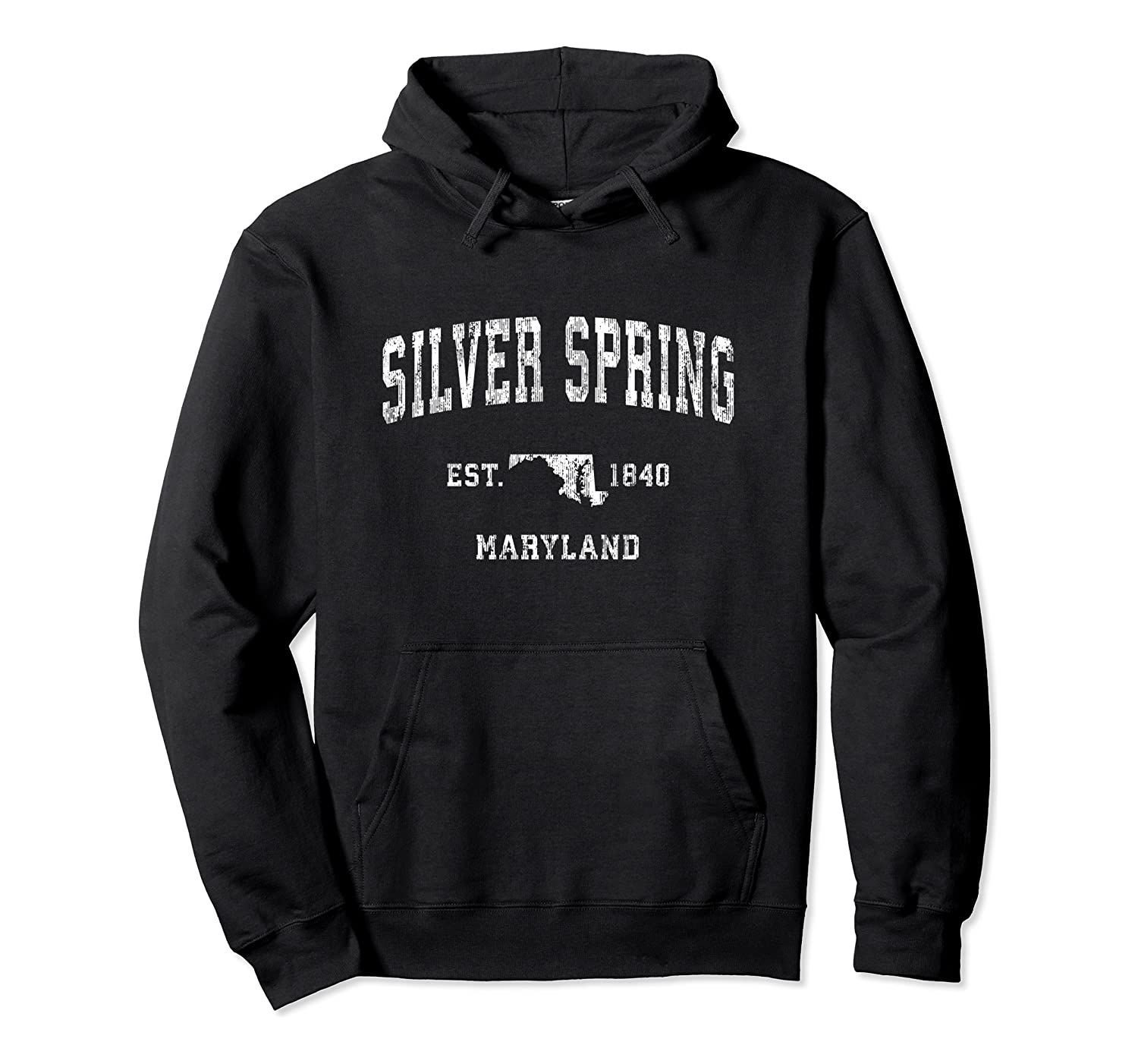 Silver Spring Maryland MD Vintage Athletic Sports Design Pullover Hoodie, T Shirt, Sweatshirt