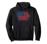 Iowa State Map Vintage Retro USA Flag - Love Iowa Pride Gift Pullover Hoodie, T Shirt, Sweatshirt