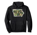 Iowa Camo Map Shirt, Hunting Gear, Camo Home Apparel Pullover Hoodie, T Shirt, Sweatshirt