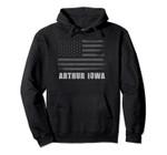 American Flag Arthur, Iowa USA Patriotic Souvenir Pullover Hoodie, T Shirt, Sweatshirt
