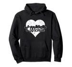 Retro Wichita Kansas Skyline Heart Distressed Pullover Hoodie, T Shirt, Sweatshirt