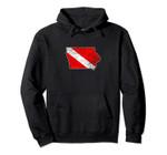 Vintage Iowa Scuba Dive Flag State Map Diving Diver Pullover Hoodie, T Shirt, Sweatshirt