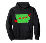 Santa Sleigh Over Iowa Christmas State Silhouette Pullover Hoodie, T Shirt, Sweatshirt