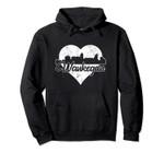 Retro Waukegan Illinois Skyline Heart Distressed Pullover Hoodie, T Shirt, Sweatshirt