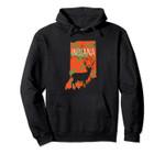 Indiana Blaze Orange Camouflage Deer State Silhouette Pullover Hoodie, T Shirt, Sweatshirt