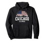 Chicago Skyline Hoodie - Chicago Illinois USA Flag Pullover, T Shirt, Sweatshirt