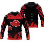 Akatsuki Cloud Zip Hoodie Cosplay Naruto Shirt Anime Fan Gift Idea VA06