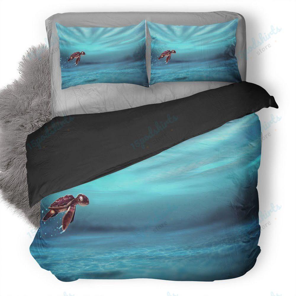 Turtle Baby In Water Artwork Duvet Cover Bedding Set