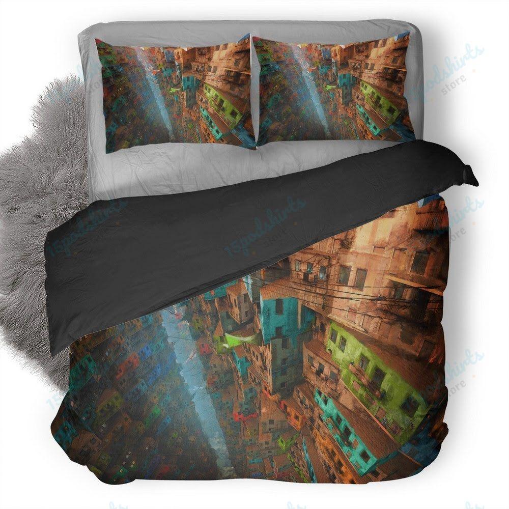 Vertical Village Duvet Cover Bedding Set