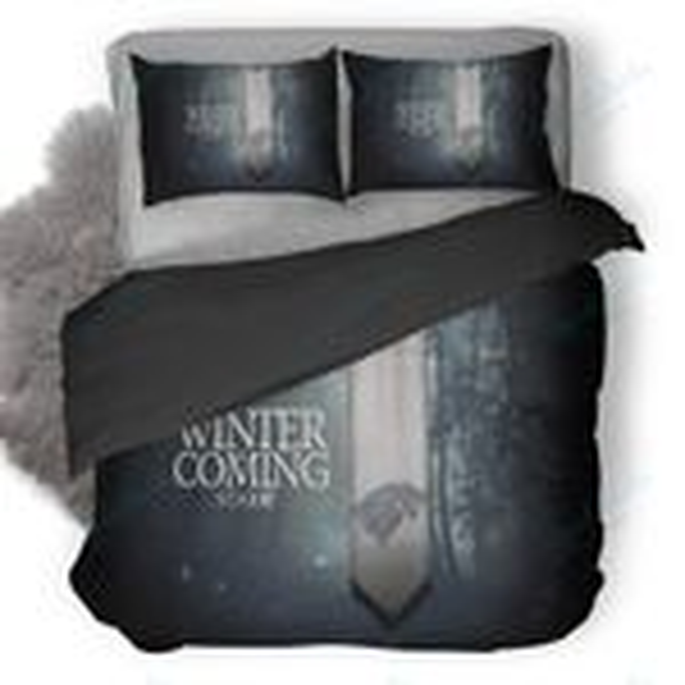 Winter Is Coming Stark Logo Poster Duvet Cover Bedding Set