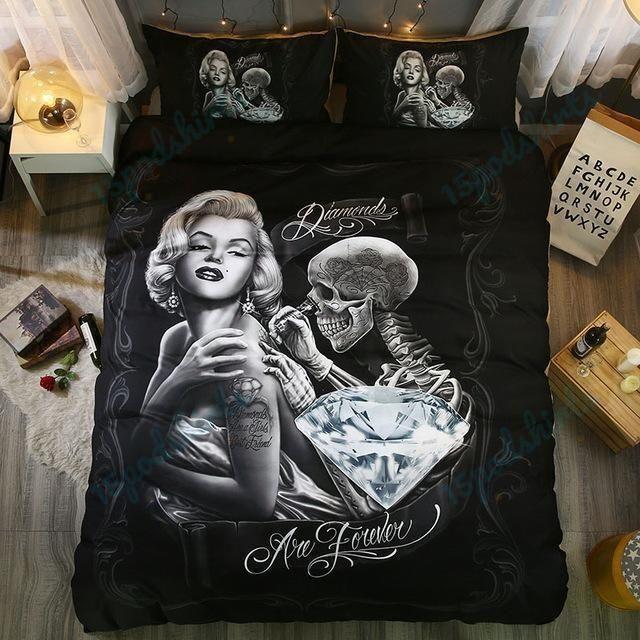 3D Marilyn Monroe Skull 1 Duvet Cover Bedding Set