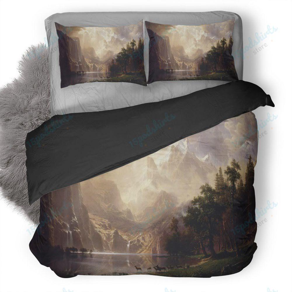 Beautiful Mountain River Forest Artwork Duvet Cover Bedding Set