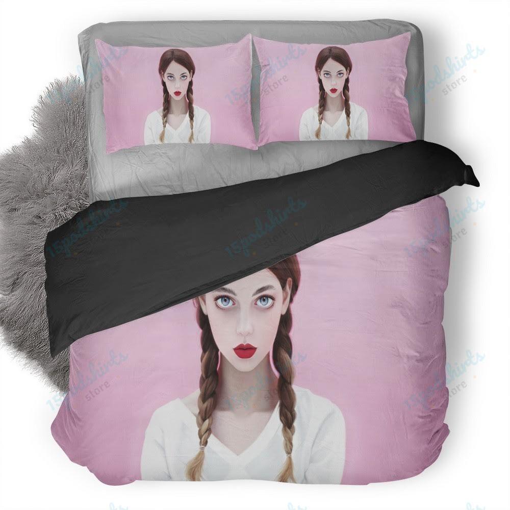 Brunette Red Lipstick Blue Eyes Face With Braids Duvet Cover Bedding Set