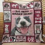 Pitbull Bigger Heart Dog Blanket Quilt