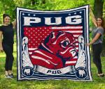 CHQ071714 Pug Blanket TH1709 Quilt