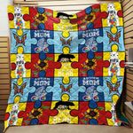 Autism Mama Papa Bear Blanket TH1707 Quilt
