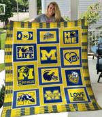 Michigan Wolverines 1 Blanket TH1607 Quilt
