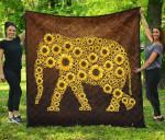Elephant Sunflower Many Premium TH1207 Quilt