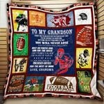 To My Grandson American Football Blanket KC1207 Quilt