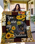 Sunflower Dachshund Blanket TH10072019 Quilt