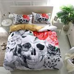 3D Pink Rose Sugar Skull Duvet Cover Bedding Set