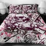 3D Plum Death Skull Duvet Cover Bedding Set
